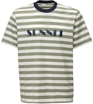 Sunnei Striped Logo Print Cotton T-Shirt