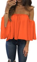 Ninimour Women's 3/4 Sleeve Shirt Strapless Blouses Off Shoulder Chiffon Tops
