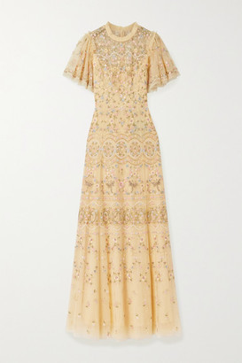 Needle & Thread Sweet Petal Beaded Embroidered Tulle Gown - Pastel yellow