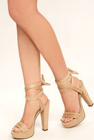 Liliana Corrine Nude Suede Lace-Up Platform Heels