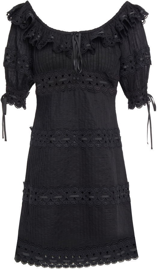 Zimmermann Honour Guipure Lace-trimmed Pintucked Cotton Mini Dress