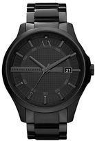 Armani Exchange Mens Black Stainless Steel Quartz Watch