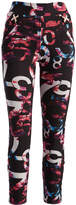 Black & Multi-Color Abstract Faux Fur-Lined Skinny Pants