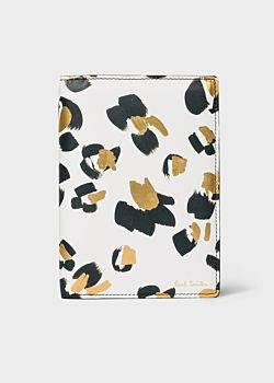 Women's White 'Painted Leopard' Leather Passport Cover