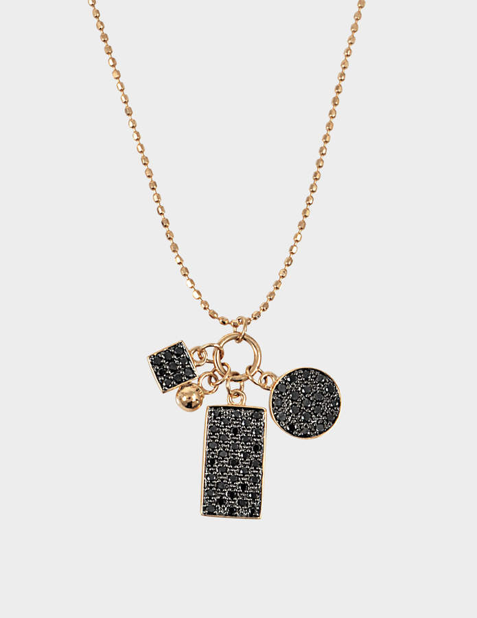 ginette_ny Mini Black Diamond Ever Charm 18-karat rose gold necklace