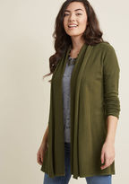 ModCloth Comfy My Way Cardigan in Olive in 1X - Long Waist