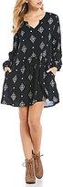 Roxy Sunkissed Daze Printed Long Sleeve Shift Dress