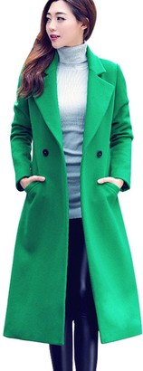 NEEDRA Womens Fashion Autumn Winter Long Woolen Coat Overcoat Parka Outwear Cardigan Green