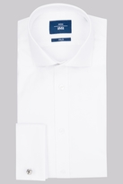 Moss Bros Slim Fit White Double Cuff Oxford Textured Shirt