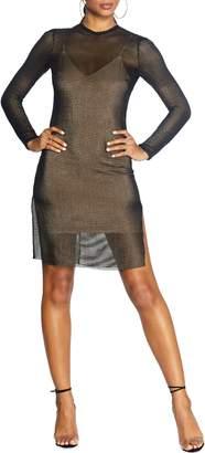 Dress the Population Cosmopolitan Viola Long Sleeve Mesh Minidress
