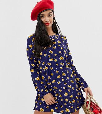 Glamorous Petite long sleeve shift dress in sunflower print-Navy