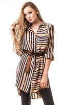 ICONOFLASH Women's Striped Button Down Blouse with Side Slits