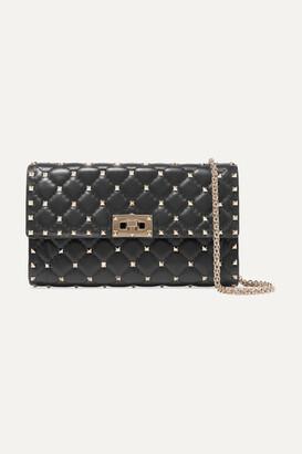 Valentino Garavani The Rockstud Spike Quilted Leather Shoulder Bag - Black