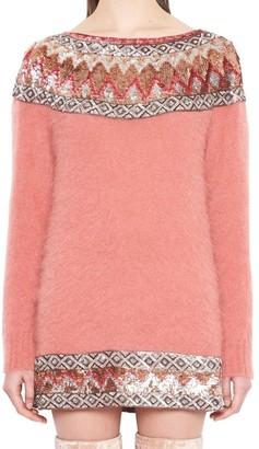 Alberta Ferretti Sequin Embellished Knitted Sweater