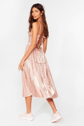 Nasty Gal Womens What Do You Sheen Tiered Midi Dress - Blush