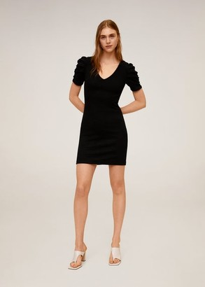MANGO Ruched sleeve dress black - 2 - Women
