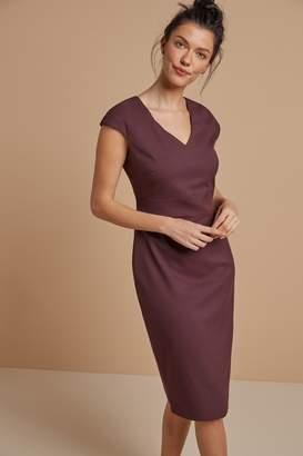 Next Womens Plum Tailored Short Sleeve V-Neck Dress - Purple