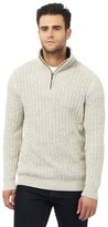 Maine New England Off White Zip Funnel Neck Sweater
