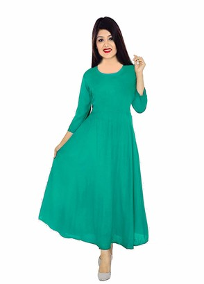 Lakkar Haveli Indian Long Dress Teal Color Kurti Women's Ethnic Maxi Dress Tunic 3/4 Sleeve Plus Size (Large)