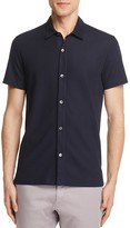 Theory Aden Piqué Knit Slim Fit Button-Down Shirt
