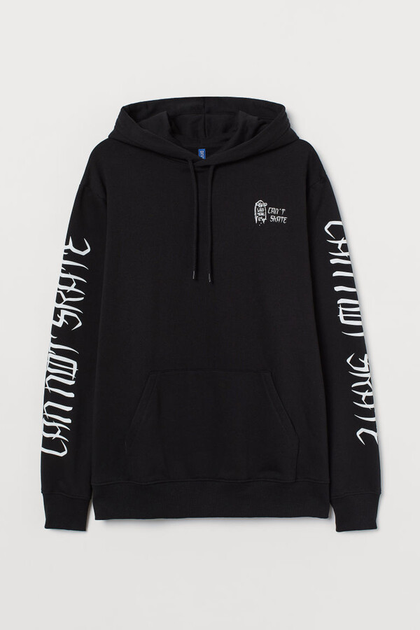 Thumbnail for your product : H&M Hoodie with Motif - Black