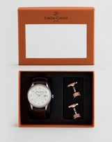 Simon Carter Leather Watch & Cog Cufflinks Gift Set