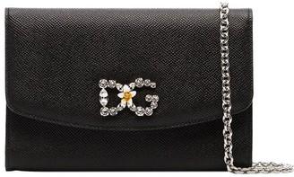 Dolce & Gabbana black crystal embellished leather wallet on chain