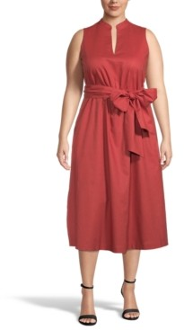 Anne Klein Plus Size Belted Midi Dress