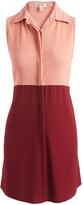 Mimichica Burgundy & Rose Sleeveless Button-Up Dress