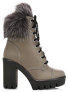 Giuseppe Zanotti Women's Leather Shearling-Lined Chunky Combat Boots