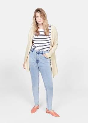 MANGO Violeta BY Fine-knit cardigan sand - XS - Plus sizes