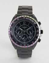 Police Watch Multi Functional Dial Watch With Rainbow Top Ring