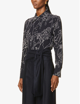 Victoria Victoria Beckham Graphic-print slim-fit stretch-crepe shirt