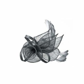 Meiz Ladies Floral Sinamay Fascinator with Feathers on Satin Covered Alice Band (Grey)