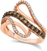 LeVian Chocolate by Petite Le Vian Chocolate and White Diamond Wave Ring (5/8 ct. t.w.) in 14k Rose Gold