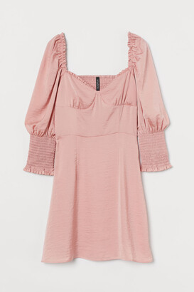 H&M Smock-detail Satin Dress - Pink