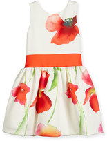 Zoë Ltd Sleeveless Floral Smocked Ponte Dress, White/Coral, Size 7-16