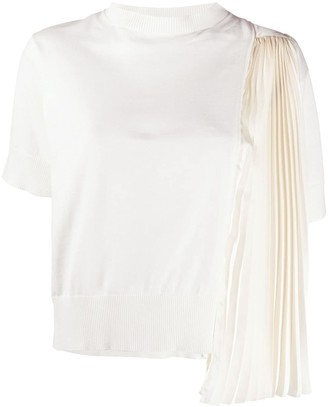 Sacai chiffon-panelled knitted T-shirt