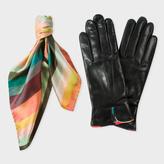 Paul Smith Women Silk 'Artist Stripe' Scarf And Black Lambskin Gloves Gift Set