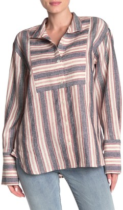 Frame Collared Bib Linen Stripe T-Shirt