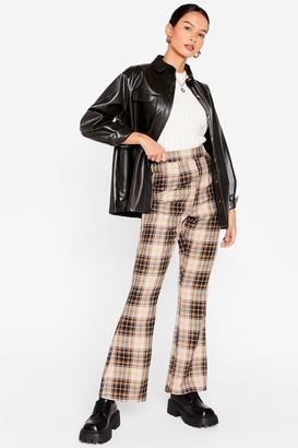 Nasty Gal Womens Why Do They Flare High-Waisted Check Pants - Brown