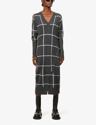Eleventy Checked cashmere maxi dress