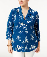 Charter Club Plus Size Floral-Print V-Neck Top, Only at Macy's