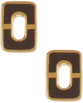 Diane von Furstenberg Chain Link Wood Stud Earrings