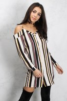 Rare Multi Stripe Cold Shoulder Dress