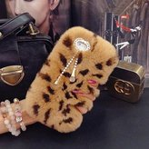 Matezon Case,Super Deluxe Luxury Bling Diamonds Bowknot Pendant Fluffy Soft Warm Beaver Rex Rabbit Hair Fur Case for
