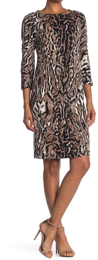 T Tahari Leopard Print 3/4 Sleeve Sheath Dress