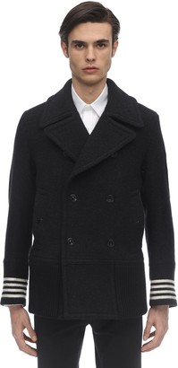 Burberry Double Breasted Virgin Wool Pea Coat