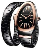 Bvlgari Serpenti 18K Rose Gold & Black Ceramic Single Spiral Band Watch