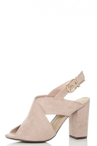 Quiz Pink Faux Suede Sling Back Mules